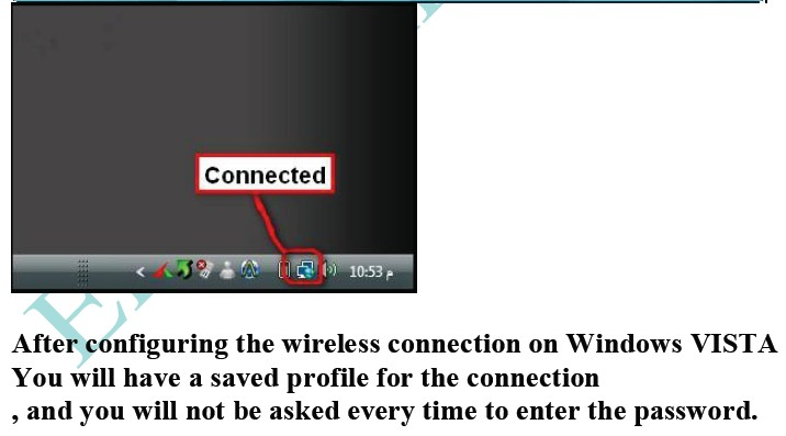 how to configure the wireless connectivity security on Windows VISTA