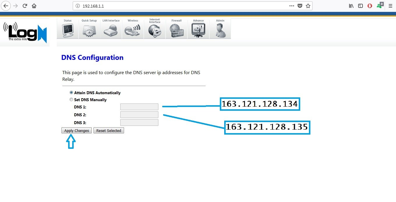 adding dns on logn router