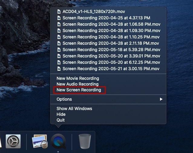 Quicktime New Screen Recording macOS