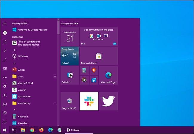قائمة ابدأ في نظام التشغيل Windows 10 مع إضافة لون مميز.